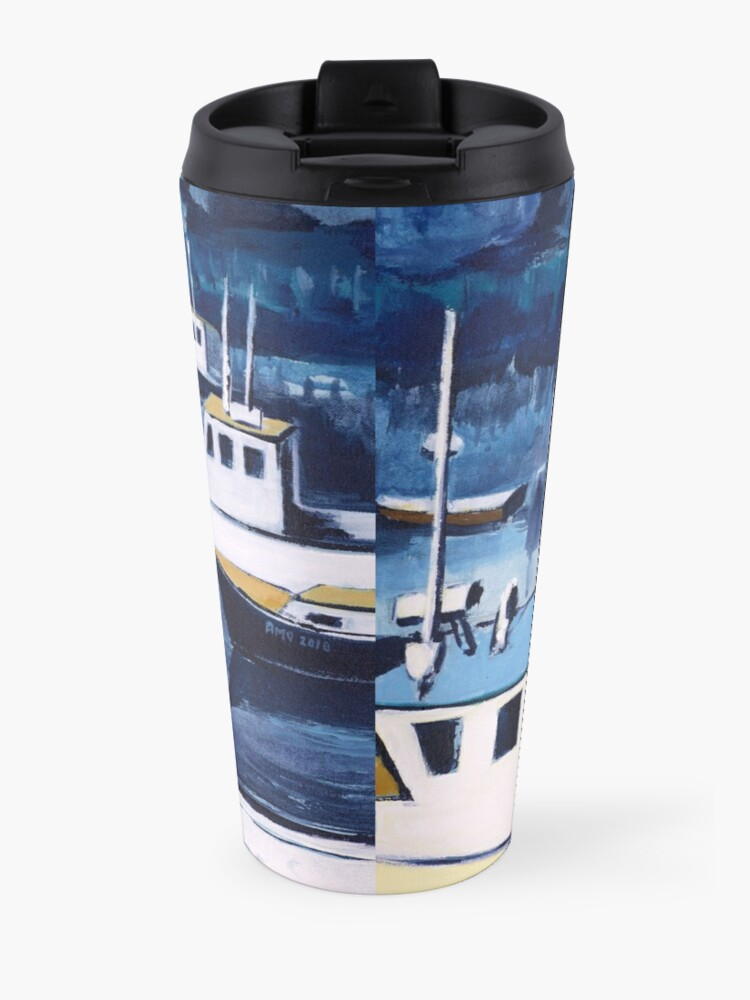 Alternate view of Lobster Boat in Blue Harbor Travel Mug