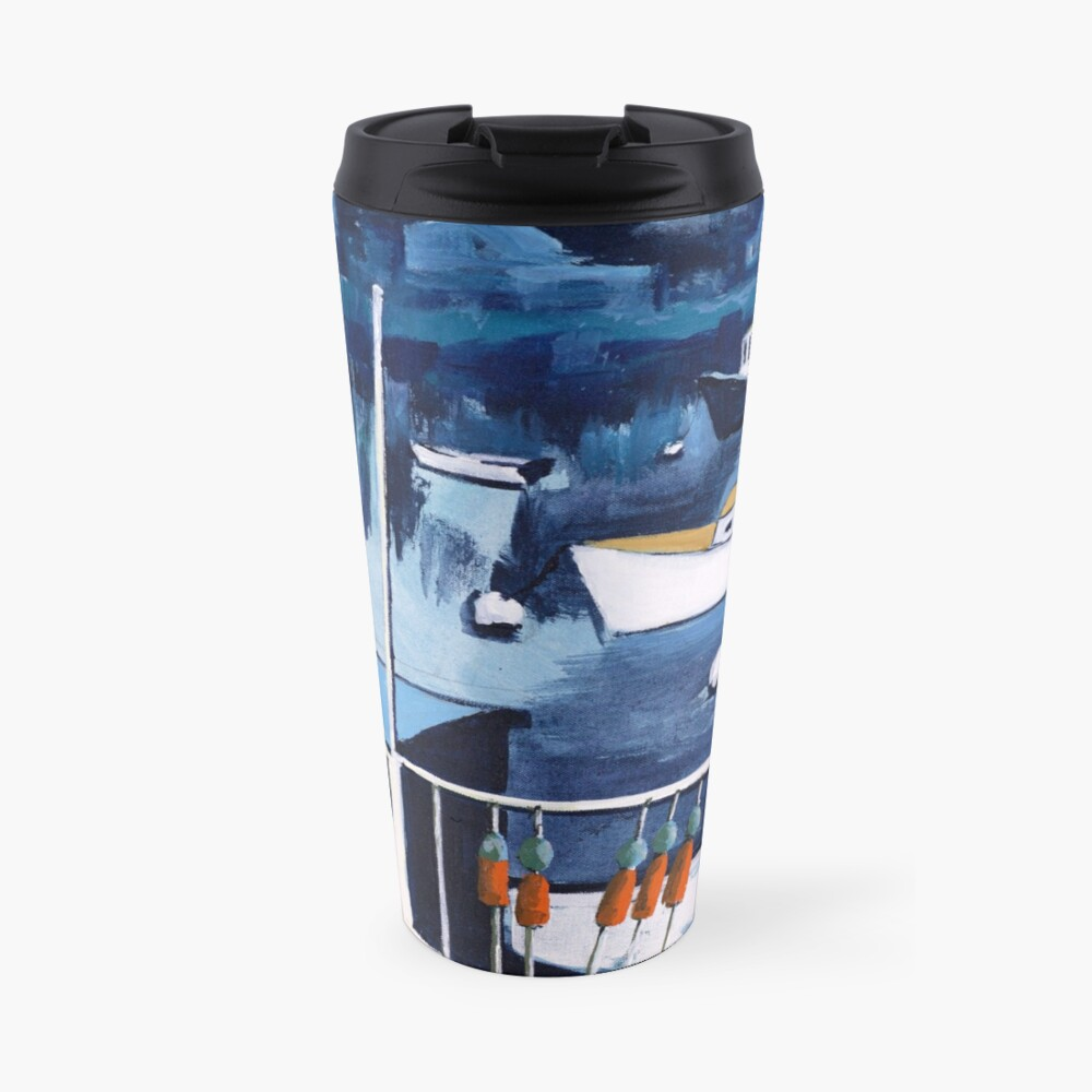 Lobster Boat in Blue Harbor Travel Mug
