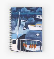 Lobster Boat in Blue Harbor Spiral Notebook