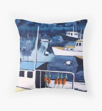 Lobster Boat in Blue Harbor Throw Pillow
