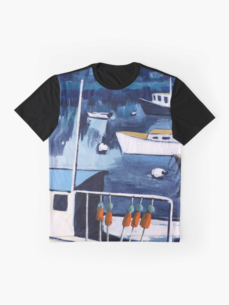 Alternate view of Lobster Boat in Blue Harbor Graphic T-Shirt