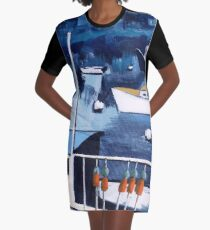 Lobster Boat in Blue Harbor Graphic T-Shirt Dress