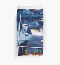 Lobster Boat in Blue Harbor Duvet Cover