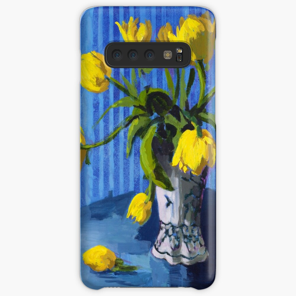 Yellow Tulips with Blue Case & Skin for Samsung Galaxy