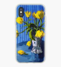 Yellow Tulips with Blue iPhone Case