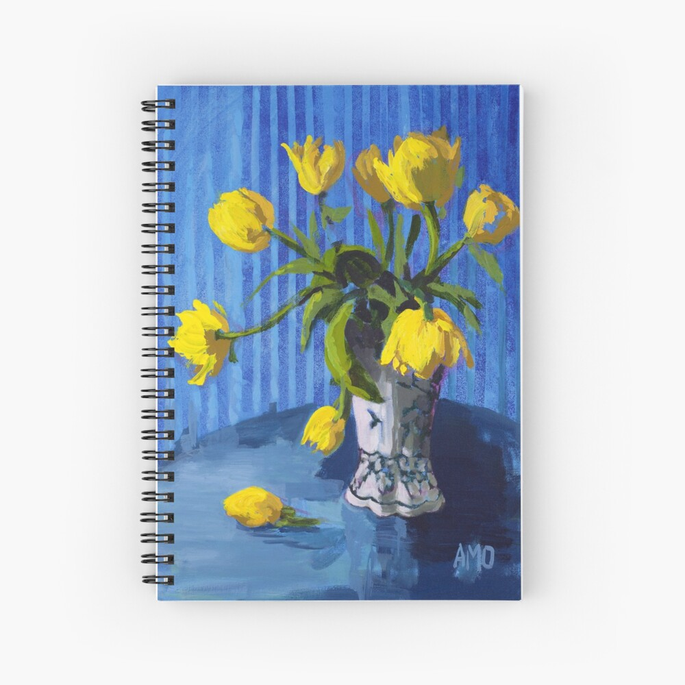 Yellow Tulips with Blue Spiral Notebook