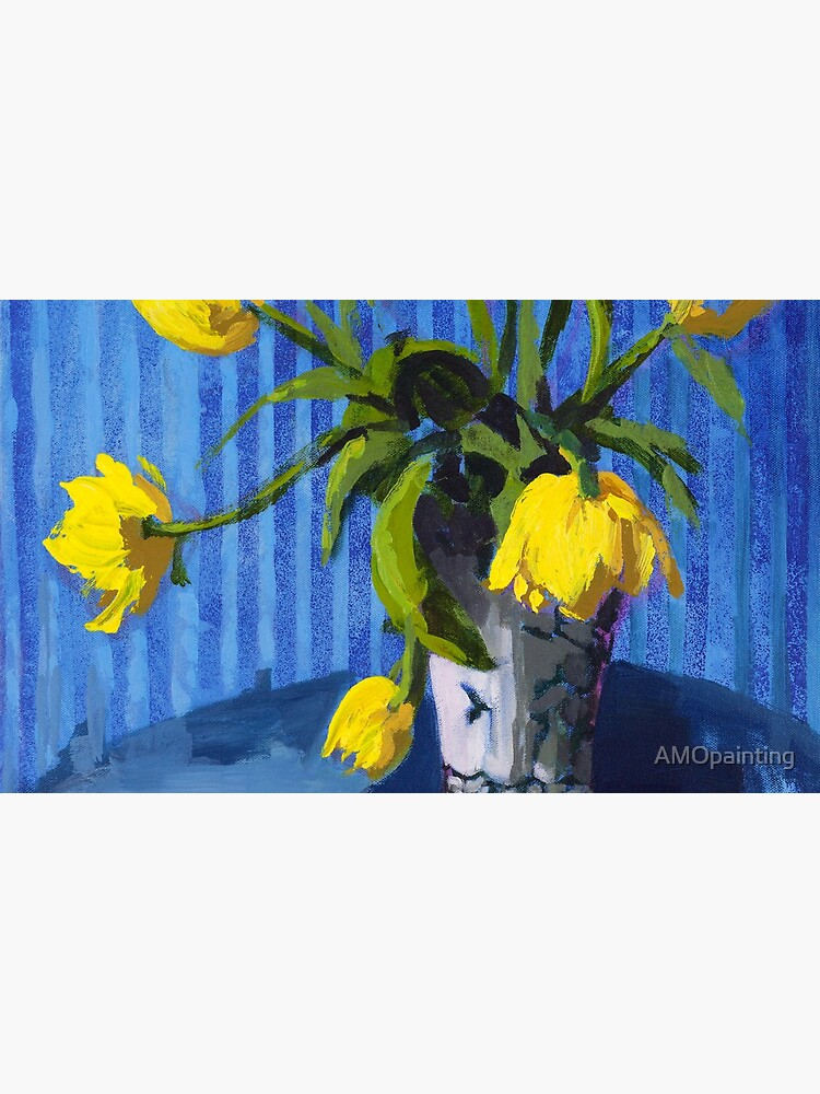 Yellow Tulips with Blue by AMOpainting
