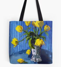 Yellow Tulips with Blue Tote Bag