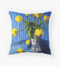 Yellow Tulips with Blue Throw Pillow