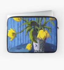 Yellow Tulips with Blue Laptop Sleeve