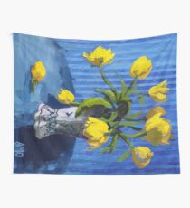Yellow Tulips with Blue Wall Tapestry