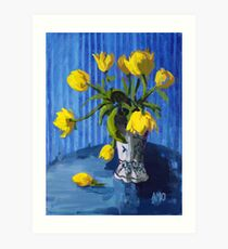 Yellow Tulips with Blue Art Print