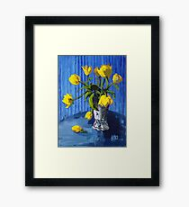 Yellow Tulips with Blue Framed Print