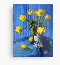 Yellow Tulips with Blue Metal Print