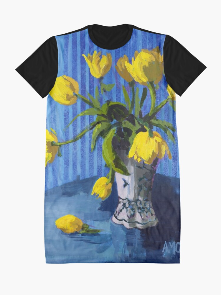 Alternate view of Yellow Tulips with Blue Graphic T-Shirt Dress