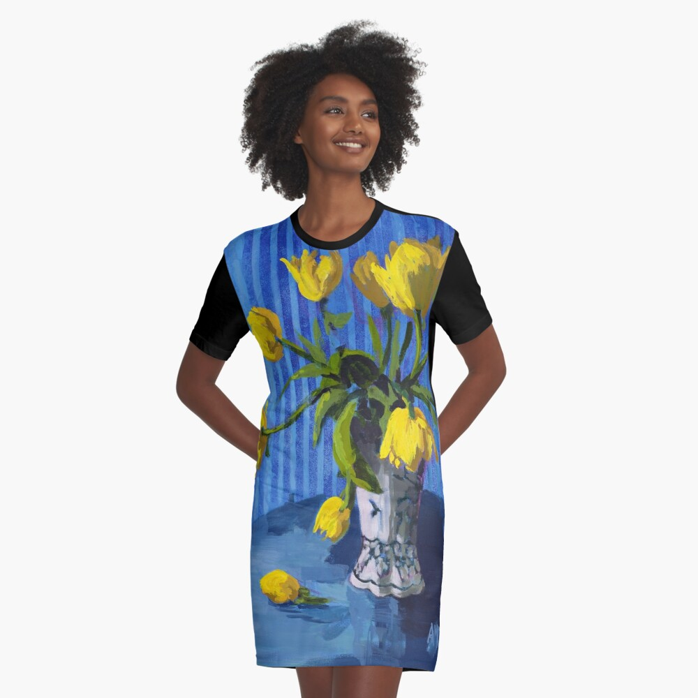Yellow Tulips with Blue Graphic T-Shirt Dress