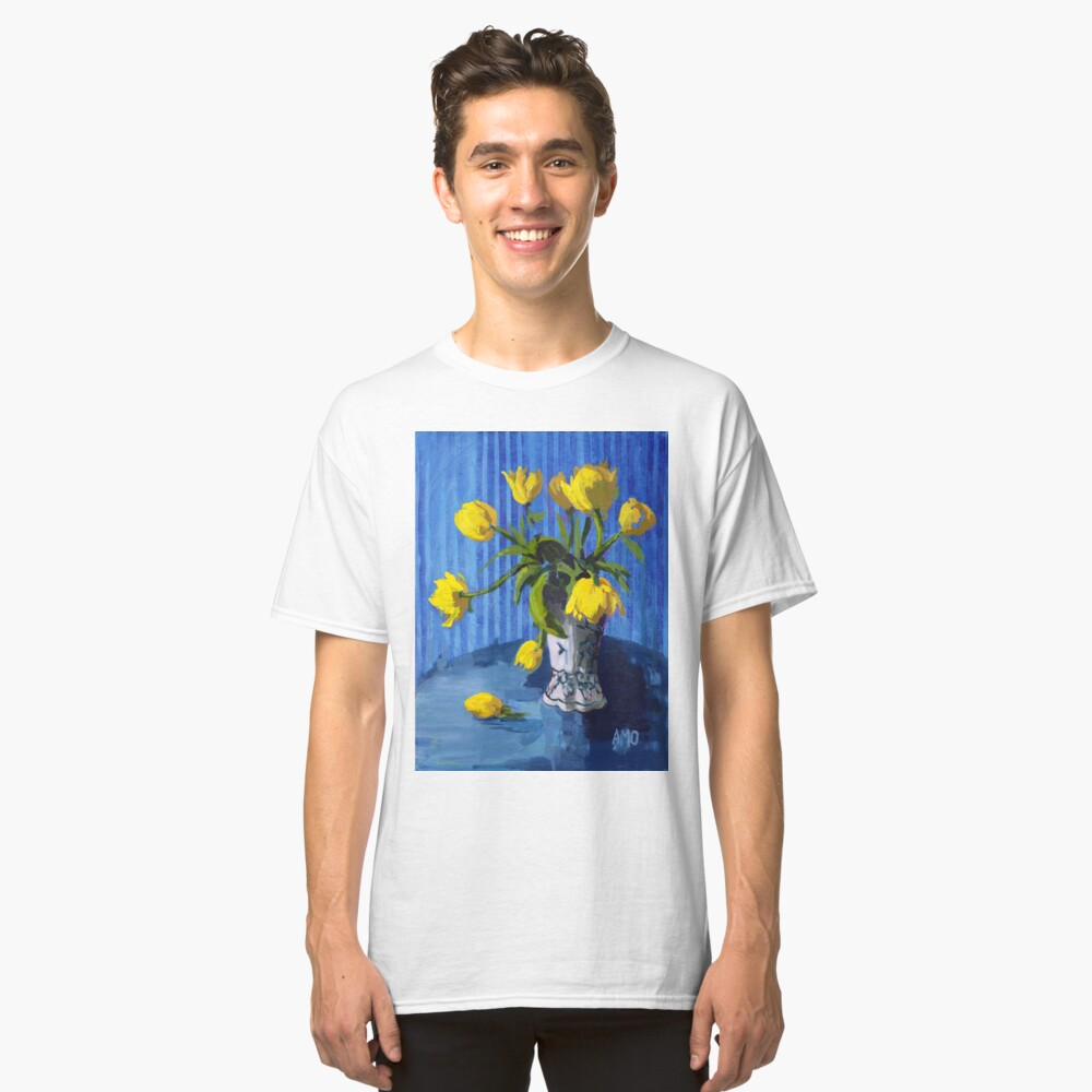 Yellow Tulips with Blue Classic T-Shirt