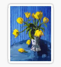 Yellow Tulips with Blue Sticker