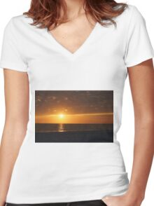 Orange Sunset Women's Fitted V-Neck T-Shirt