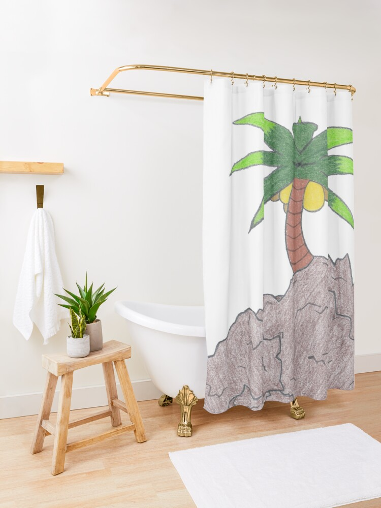Alternate view of Merch #19 -- Palm Atop The Rugged Embankment Shower Curtain