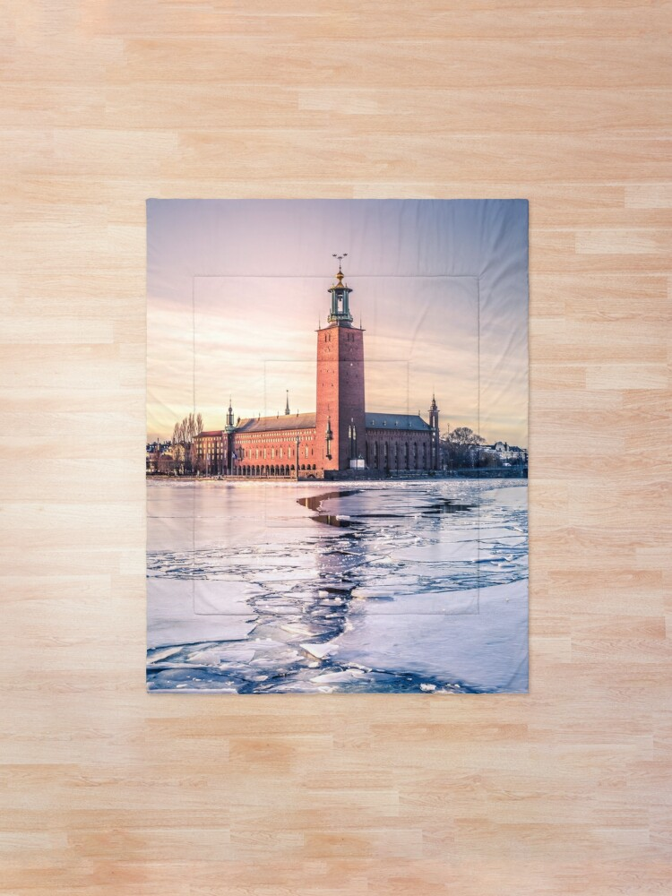 Alternate view of Stockholm City Hall in Winter Comforter