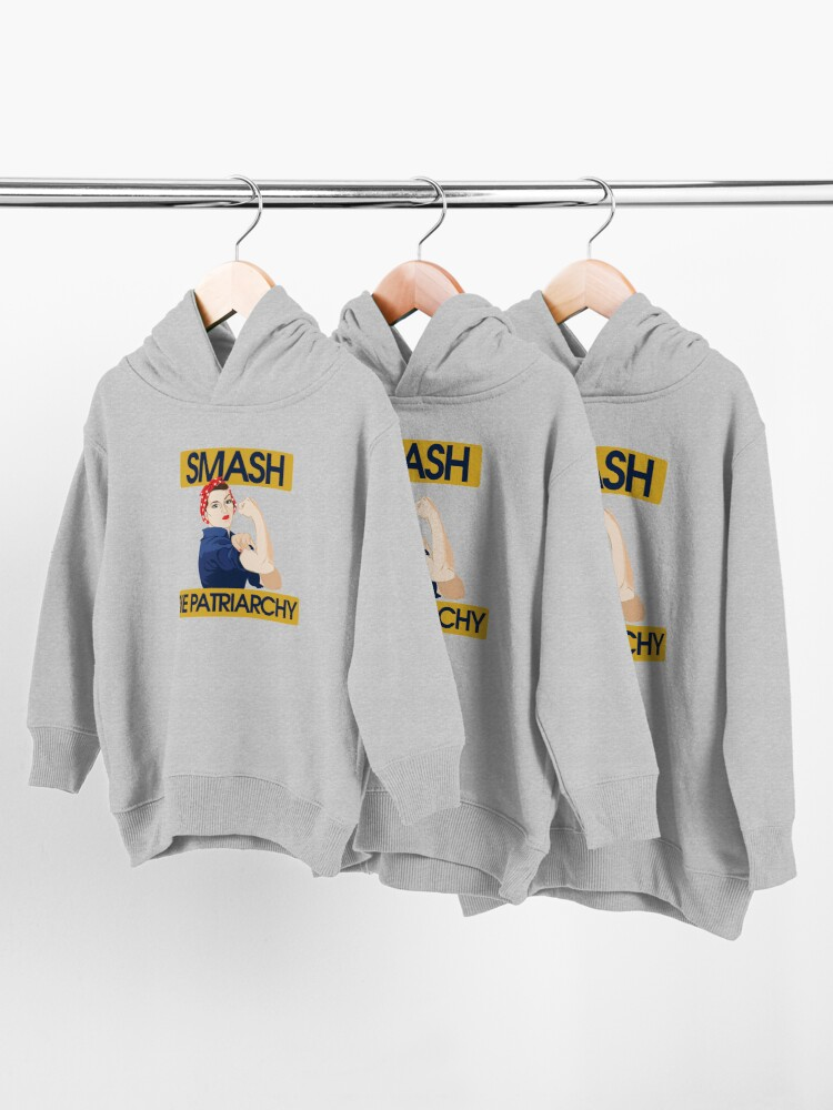 Alternate view of SMASH the patriarchy rosie riveter Toddler Pullover Hoodie