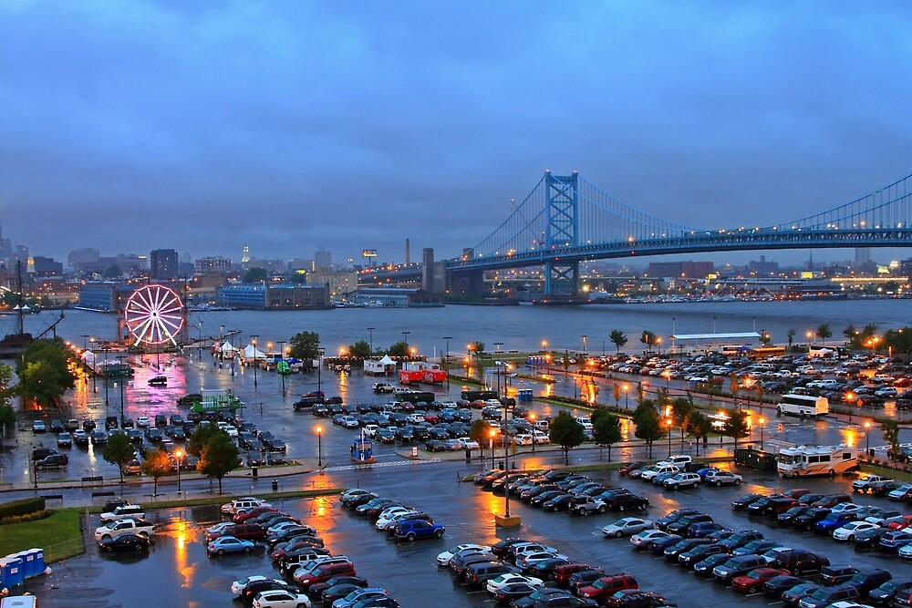 Rainy Night in Camden NJ by pmarella