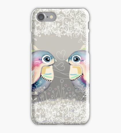 Exotic Silver Lovebirds iPhone Case/Skin