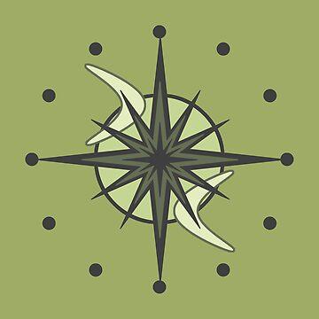Mid Century Modern Sputnik Starburst Chartreuse by thepixelgarden