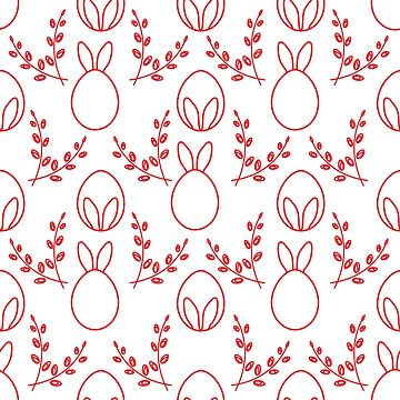 Seamless pattern. Easter Bunny ears, eggs, willow. by aquamarine-p