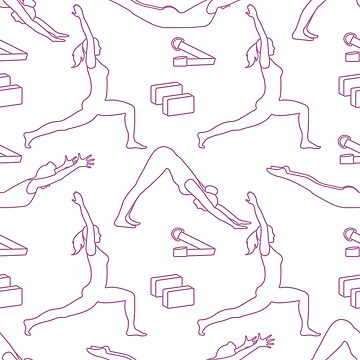 Sports seamless pattern with women doing yoga. by aquamarine-p