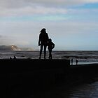 Mother and Son in Silhouette....Lyme, Dorset UK by lynn carter