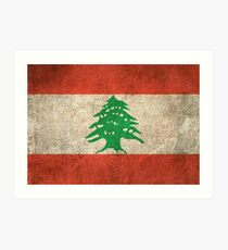 Old and Worn Distressed Vintage Flag of Lebanon Art Print