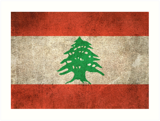 Old and Worn Distressed Vintage Flag of Lebanon by jeff bartels