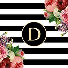 Monogram D On Vintage Flowers And Black And White Stripes by rewstudio