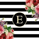 Monogram E On Vintage Flowers And Black And White Stripes by rewstudio