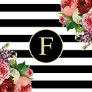 Monogram F On Vintage Flowers And Black And White Stripes by rewstudio