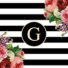 Monogram G On Vintage Flowers And Black And White Stripes by rewstudio