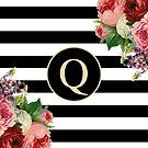 Monogram Q On Vintage Flowers And Black And White Stripes by rewstudio