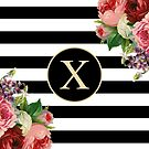 Monogram X On Vintage Flowers And Black And White Stripes by rewstudio