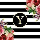 Monogram Y On Vintage Flowers And Black And White Stripes by rewstudio