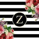 Monogram Z On Vintage Flowers And Black And White Stripes by rewstudio