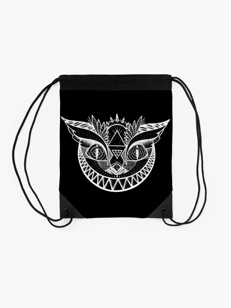 Alternate view of We're All Maddd Here - Black Drawstring Bag