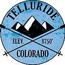 Skiing Telluride Colorado Ski Mountains Crossed Skis by MyHandmadeSigns