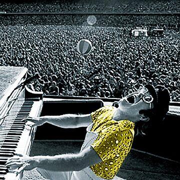 Sir Eltonn John en un concierto de rock de Ferrazi
