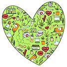 Niedliche Marihuana-Herz-Hanf-Hand gezeichnet für Stoner-Mädchen von CassiSelby