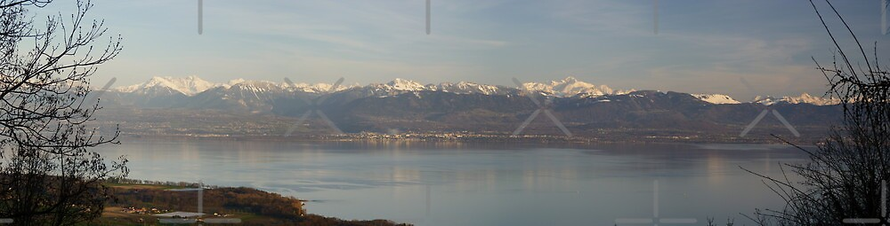 French Alps and Leman lake by poupoune