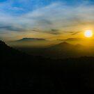 Sunset Scene Santiago de Chile Aerial View  by DFLC Prints