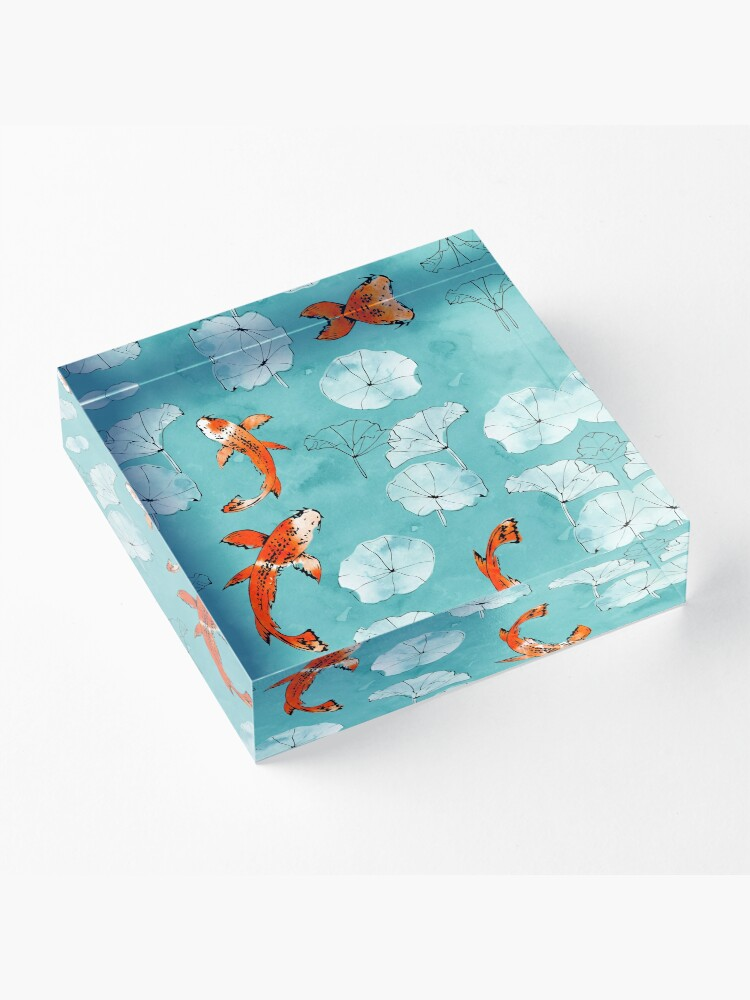 Alternate view of Waterlily koi in turquoise Acrylic Block