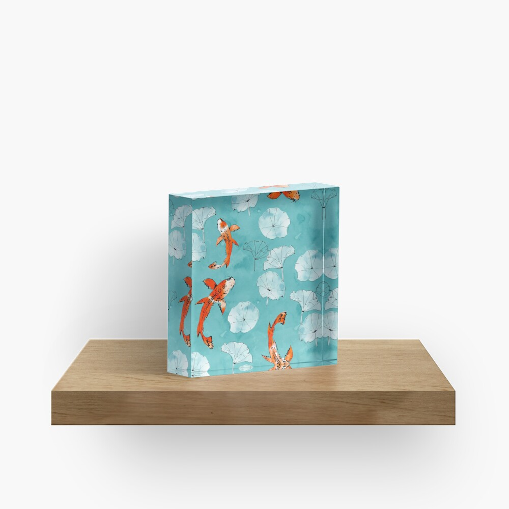 Waterlily koi in turquoise Acrylic Block